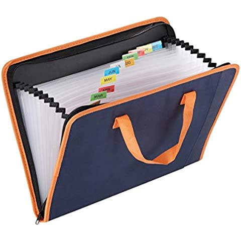 Snail & tessuto Hawk-Raccoglitore espandibile, 13 tasche con chiusura a zip, formato A4, con numeri e lettere, maniglie flessibili, colore: blu scuro