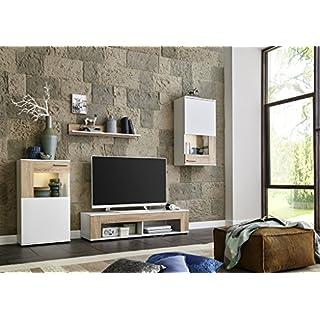 BMG Möbel Wohnwand Schrankwand Wohnzimmerschrank Mediawand Anbauwand TV-Element Tampa in weiß matt/Sonoma Eiche inkl. LED Beleuchtung Made in Germany