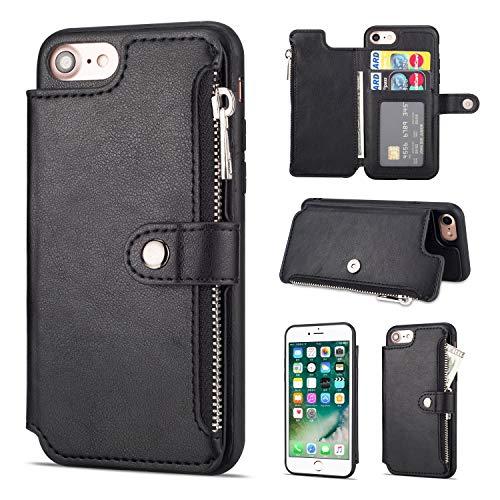 Shinyzone Hülle für iPhone 8/iPhone 7 Hülle,Reißverschluss Brieftasche mit Kreditkarteninhaber und Geldtasche Magnetverschluss Standfunktion Leder Flip Back Schutzhülle-Schwarz -