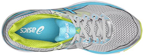 Asics Womens GT-2000 4 Running Shoe Silver/Turquoise/Lime Punch