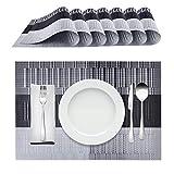 Racksoy Tischset Platzdeckchen (8er Set) Umweltfreundlich PVC Platzsets, Waschbare hitzebeständige Wasserdichte Tischmatte, schwarz, für Esszimmer, Küche, Raumdekoration - 3