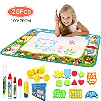 DUTISON Water Painting Mat Large Educational Magic Doodle Mat with 4 Magic Pens, 1 Magic Brush and More Drawing Accessories for Kids Boys Girls Size 100*70cm