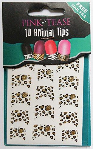 Vernis à ongles rose Tease Pointe feuilles – Lot de 10 embouts pour animaux – Leopard