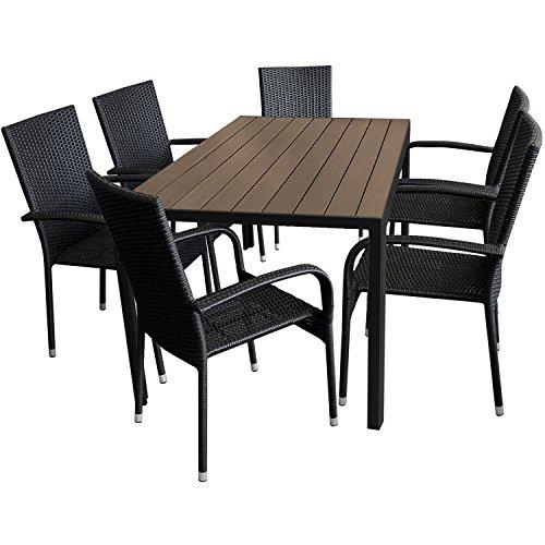 7tlg. Gartengarnitur Aluminium Gartentisch 150x90cm mit Polywood Tischplatte stapelbare Polyrattan Gartenstühle
