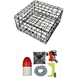 """KUFA Vinyl Coated Crab Trap & Accessory Kit (100' Lead CoreRope, Clipper,Harness,Bait Case & 11"""" Red/White Float) S60+CAC1K"""