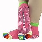 jileSM 3Paar Damen Rutschfeste Yoga Socken Fünf Zehen Socken