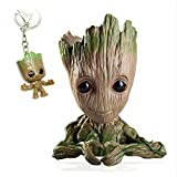 Groot Plant Pot Flowerpot Cartoon Flowerpot Figures Cute Model, Groot Succulent Planter Cute Green Plants Flower Pot with Hole Pen Pot Best Gifts for Kids
