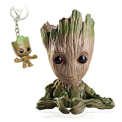 Udream Baby Groot Blumentopf Figur - Übertopf Aquarium Deko Figur Holz Aschenbecher Stiftehalter - Herzform