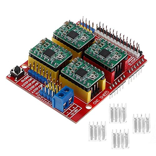 Hrph New CNC Shield V3 Engraving Machine / 3D Printer / + 4 Pcs A4988 Driver Expansion Board for Arduino - Power Extension Supply 12v