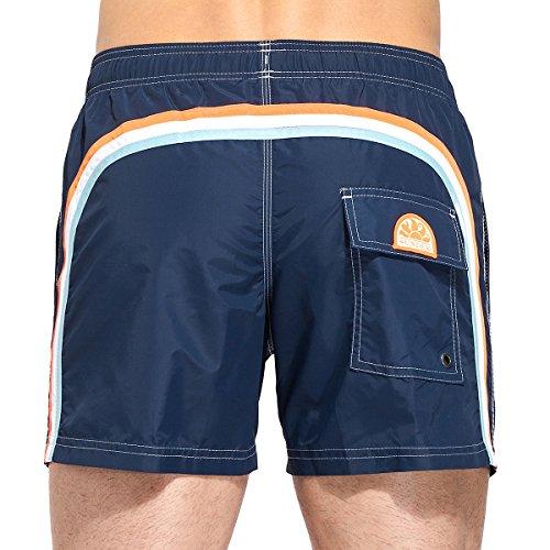 Navy Blue Classic Shorts (SUNDEK Herren Classic 14 Inch Elastic Waist Swim Short Boardshorts, Navy/Red White Blue, X-Large)
