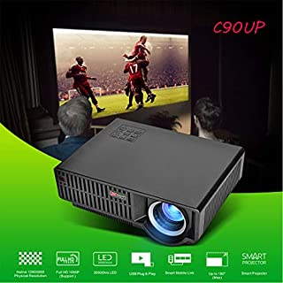 AFUT C90UP Projector,Video Projector 4K LED Android 6.0 WiFi Home Cinema Theater Projector 1080p HD Movie HDMI USB