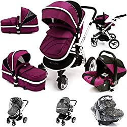 i-Safe System - Plum Trio Travel System Pram & Luxury Stroller 3 in 1 Complete with Car Seat + Rain Covers