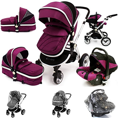 i-Safe System – Plum Trio Travel System Pram & Luxury Stroller 3 in 1 Complete With Car Seat + Rain Covers 51ikPcXYRzL