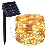 LNBEI Christmas Solar String Lights, (100 LED 8 Modes) Solar Fairy Lights,Auto On/Off Outdoor 10m Copper Wire Lights String Waterproof Portable for Patio, Garden, Home, Wedding, Pathway, Party