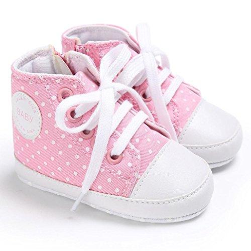 BZLine® Baby-Schuh-Jungen-Mädchen-neugeborene Krippe-weiche Segeltuch Sneakers Pink