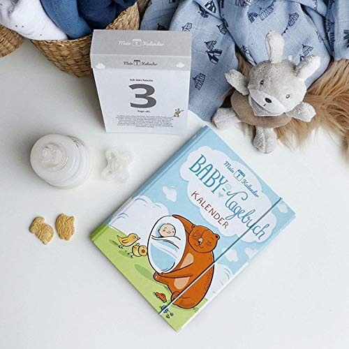 Mein 1. Kalender, das wundervollste Baby Tagebuch, Geschenk zur Geburt, 365 Tipps und Tricks, Blau, A5