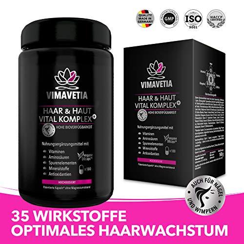 VIMAVETIA HAAR & HAUT VITAL KOMPLEX+ Haar-Vitamine, Haut-Vitamine, Haarwachstum, Aminosäuren gegen Haarausfall, D-Biotin hochdosiert, 180 DRCaps® Vegan, B-Komplex, Silizium, Hirsesamen, Laborgeprüft