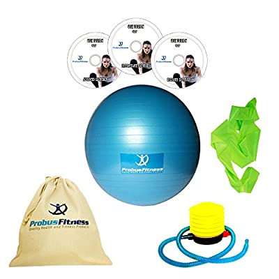 Exercise Ball Large 65cm + THREE Fitness DVD Videos, FREE 2 metre Resistance Band & Kit Bag, Fitness Set For Men & Women - Core & Killer Abs Workouts from Probus