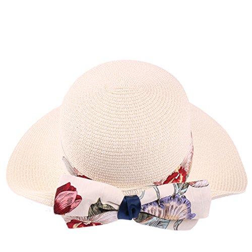 Chapeau de plage d'été/Chapeau de soleil en plein air/Bow auvents Beach holiday Sun Hat C