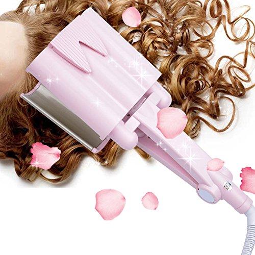 inkint Professionnel 32MM Tourmaline Céramique Trois Tube Curleur Cheveux Outils de Modélisation Bigoudi Peut Pivoter à 360 Degrés Avec Affichage LED&Température Peut Etre Ajustée Librement