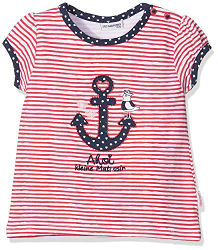 SALT AND PEPPER Baby-Mädchen B Meer Stripe Anker T-Shirt, Rot (Hibiscus 360), 80