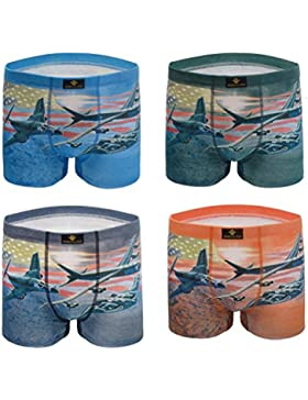 Cotone Uomo Pantaloncini Boxer Moda Aereo Stampa Confortevole Traspirante Biancheria Intima 4 Pack