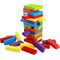 Planet of Toys Wooden Blocks Stacking Tumbling Tower Kids Game – Multicolor (54Pcs)
