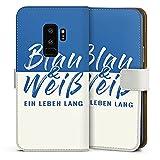 DeinDesign Samsung Galaxy S9 Plus Tasche Leder Flip Case Hülle Schalke Spruch Fussball