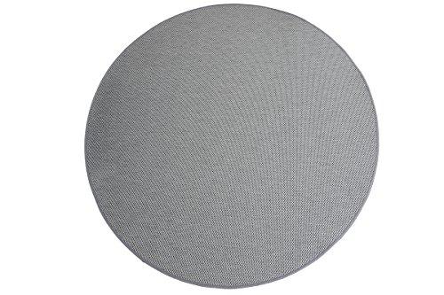 Flachgewebe Teppich Sahara rund - robuste Kunstfaser Sisal-Optik | schadstoffgeprüft pflegeleicht und strapazierfähig |für Wohnzimmer Schlafzimmer Büro, Farbe:Grau, Größe:100 cm rund
