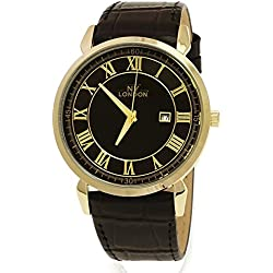 NY London Designer Slim, Black, Gold, Men's Leather Wrist Watch with Date, Super Flat + Watch Box
