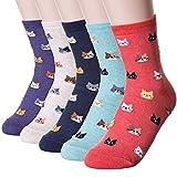 Damen Socken 3-6 Pack von Happytree, Spaß und Coole Charakter entworfen Baumwolle gemischt Geschenkidee für Cat und Hund Liebhaber