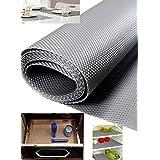 Hua You Shuangyou Multipurpose Textured Super Strong Anti-Slip Eva Mat - for Fridge, Bathroom, Kitchen, Drawer, Shelf Liner - Colur Silver Grey - Size 45x125 cm