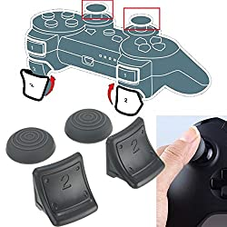 GOZAR Dual Triggers + Silicone Thumb Grip Cap Cover 4in1 Set For PS3 Controller