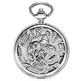 Treeweto meccanico scheletro orologio da tasca argento Lucky Dragon + confezione regalo