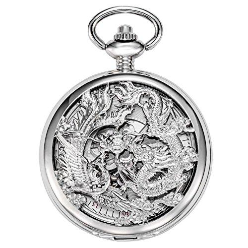 treeweto mecánico esqueleto reloj de bolsillo plata Lucky Dragón + caja de regalo