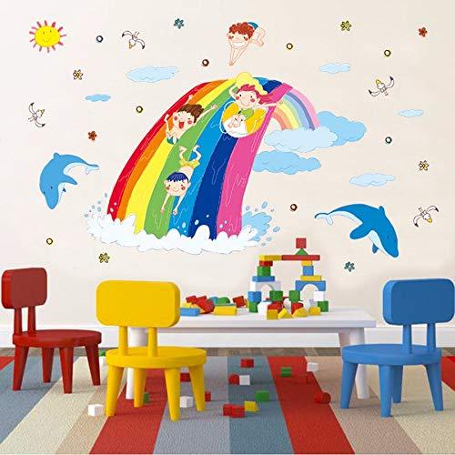 Kuamai Glückliches Sommerregenbogenspielwasserparadieswandaufkleber-Schlafzimmerbadezimmer-Parteihauptdekorationschwimmenwandplakat-Kindergeschenk