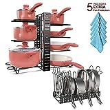 QueenHome 4 Capas Organizador de sartenes y tapaderas Tabla de Cortar de Rack Olla de Cocina Estante