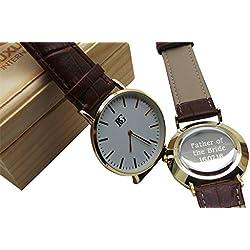 Personalisierter Gravur Armbanduhr echt Leder Armbanduhr 24K Vergoldet Luxus Box Monogramm Custom Gravur Vater der Braut
