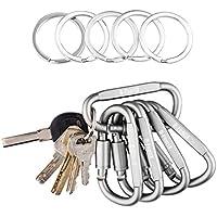 D-FantiX in alluminio, anello di bloccaggio, moschettone, gancio portachiavi grande, fibbia campeggio escursionismo (Set di 5 pezzi), donna Uomo, Silver