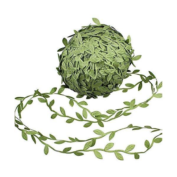 Make It Funwan – Guirnaldas artificiales para colgar en la pared, diseño de hojas de ratán, color verde