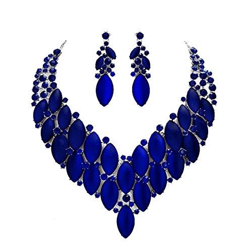 Schmuckanthony Statement Luxus Abendschmuck Ball Hochzeit Schmuckset Set Kette Lange Ohrringe Kristall Blau