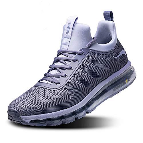 Onemix Scarpe da Ginnastica da Uomo Corsa Sportive Fitness Running Sneakers Basse Interior Casual all'Aperto 1191 Grigio Argento 43