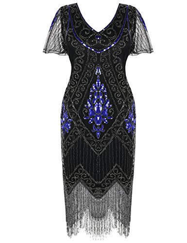 PrettyGuide Damen 1920er Charleston Kleid Pailetten Cocktail Flapper Kleid Mit Ärmel L Blau Silber (Charleston Kleid Flapper)
