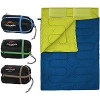 Saco de Dormir Portátil para 2 Personas Bolsa de Dormir de 4 Estaciones con Almohada para Camping Senderismo al Aire Libre ( Color : Azul marino )