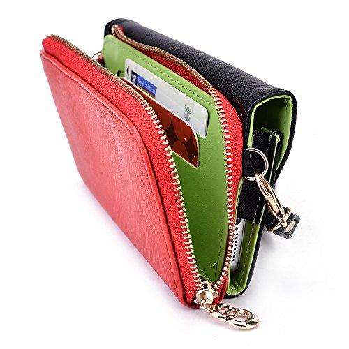 Kroo d'embrayage portefeuille avec dragonne et sangle bandoulière pour Alcatel POP D3Smartphone Black and Orange Noir/rouge