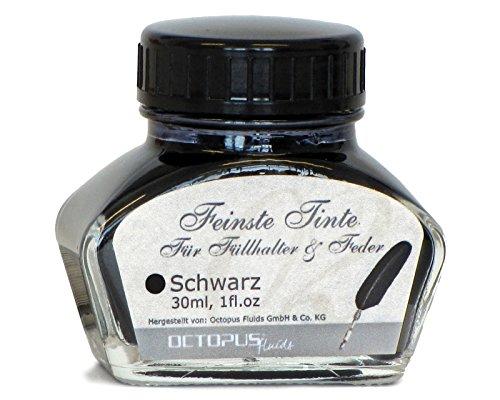 Feinste Premium Schreibtinte für Füllhalter und Schreibfedern, Schwarz 30ml