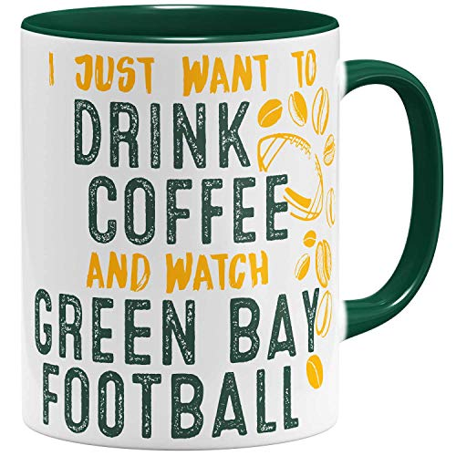 OM3® - Green-Bay-Coffee - Tasse | Keramik Becher | American Football Mug | 11oz 325ml | Beidseitig Bedruckt | Grün -