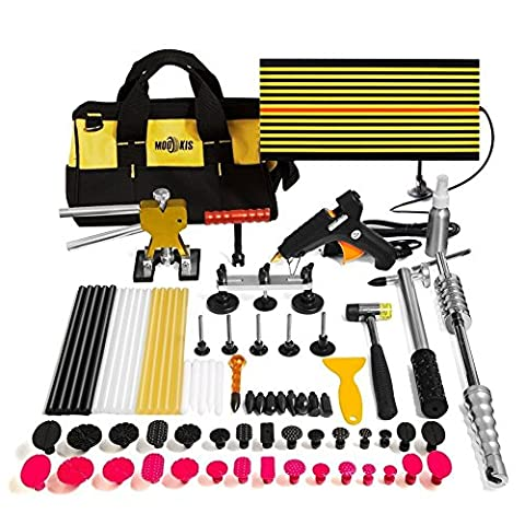 Mookis Paintless Dent Repair 77PCS Car Body Repair Kit with Glue Gun, Glue Stick, Dent Bridge Puller, LED Line Board, Pro Pulling Tabs