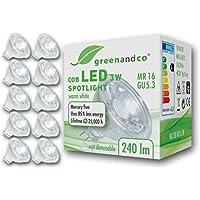 10x greenandco® LED Spot ersetzt 25-30 Watt MR16 GU5.3 Halogenstrahler, 3W 240 Lumen 2700K warmweiß COB LED Strahler 38° 12V AC/DC Glas mit Schutzglas, nicht dimmbar, 2 Jahre Garantie