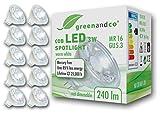 10 unidades de spots LED greenandco® MR16 GU5.3 3W (corresponde a 25-30W) 240lm 2700K (blanco cálido) COB LED 38° 12V AC/DC